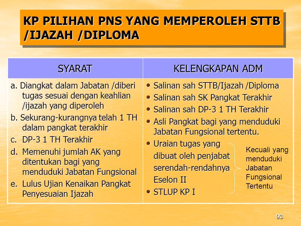 92 PNS YANG MEMPEROLEH STTB /IJAZAH /DIPLOMA Termasuk PNS yang telah memiliki STTB/Ijazah sebelum yang bersangkutan Diangkat CPNS 1.
