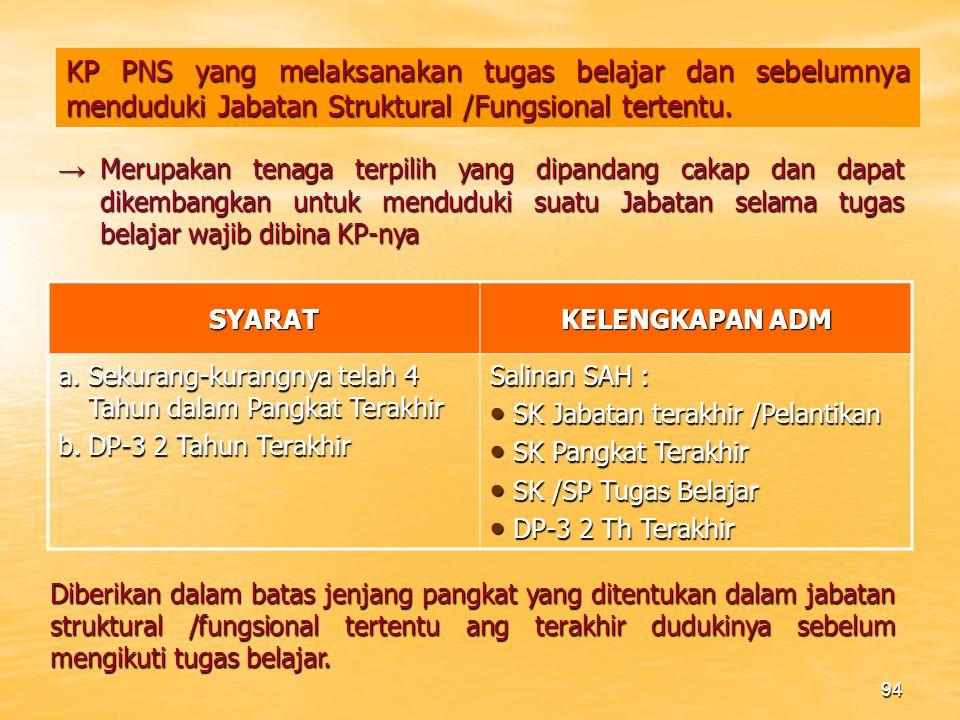 93 KP PILIHAN PNS YANG MEMPEROLEH STTB /IJAZAH /DIPLOMA SYARAT KELENGKAPAN ADM a.