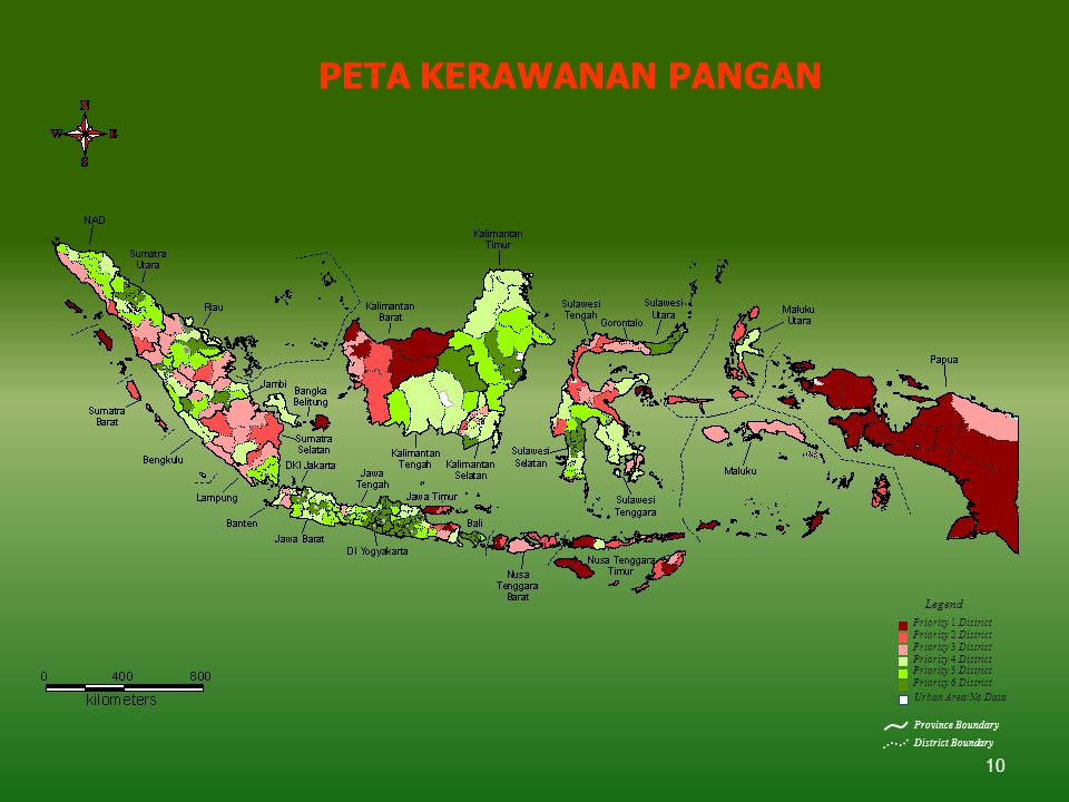 10 PETA KERAWANAN PANGAN Urban Area/No Data Province Boundary District Boundary Legend Priority 1 District Priority 2 District Priority 3 District Pri