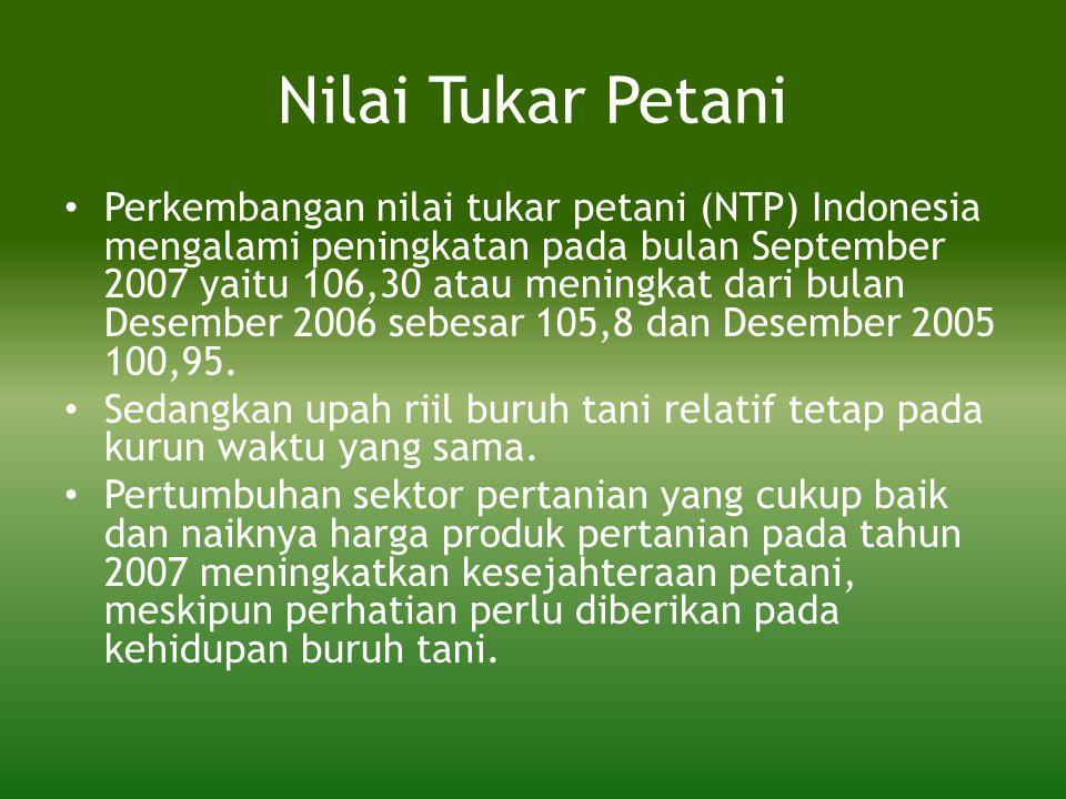 Nilai Tukar Petani • Perkembangan nilai tukar petani (NTP) Indonesia mengalami peningkatan pada bulan September 2007 yaitu 106,30 atau meningkat dari