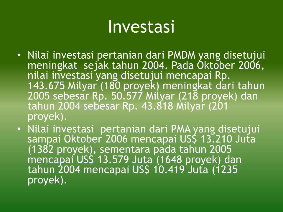 Investasi • Nilai investasi pertanian dari PMDM yang disetujui meningkat sejak tahun 2004. Pada Oktober 2006, nilai investasi yang disetujui mencapai