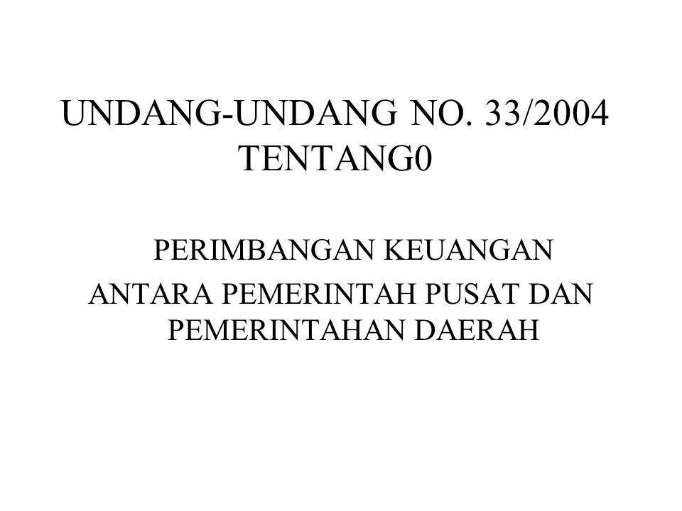 RINCIAN PEMBAGIAN : UU No.25 Tahun 1999UU No.33 Tahun 2004 SDA Sektor PerikananDBH dari penerimaan Perikanan •Penerimaan Pungutan Pengusahaan Perikanan •Penerimaan Pungutan Hasil Perikanan •Dibagikan dengan porsi sama besar kepada kabupaten/kota seluruh Indonesia •Penerimaan Pungutan Pengusahaan Perikanan •Penerimaan Pungutan Hasil Perikanan •Dibagikan dengan porsi sama besar kepada kabupaten/kota seluruh Indonesia