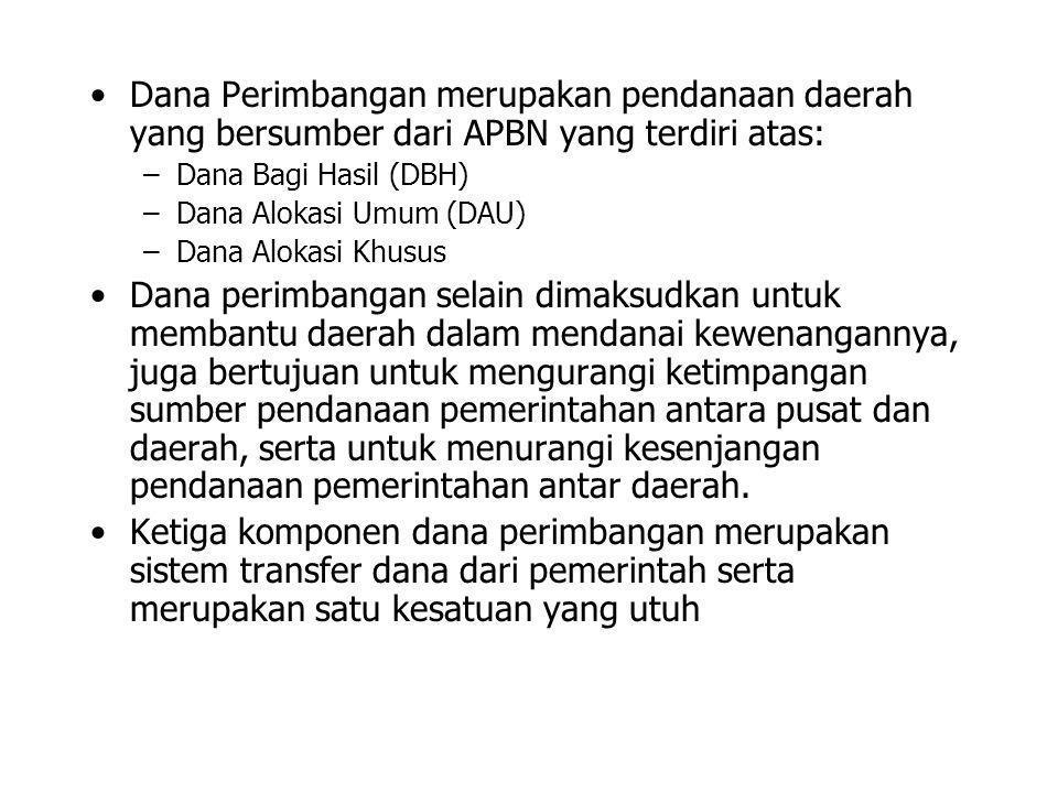 •Dana Perimbangan merupakan pendanaan daerah yang bersumber dari APBN yang terdiri atas: –Dana Bagi Hasil (DBH) –Dana Alokasi Umum (DAU) –Dana Alokasi