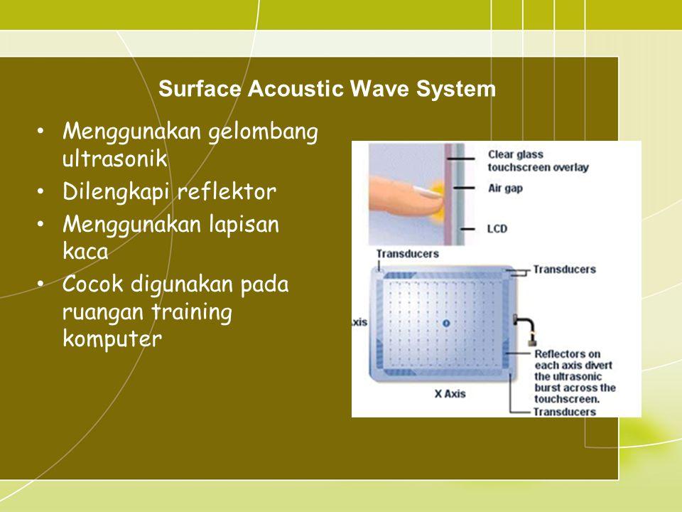Surface Acoustic Wave System • Menggunakan gelombang ultrasonik • Dilengkapi reflektor • Menggunakan lapisan kaca • Cocok digunakan pada ruangan training komputer