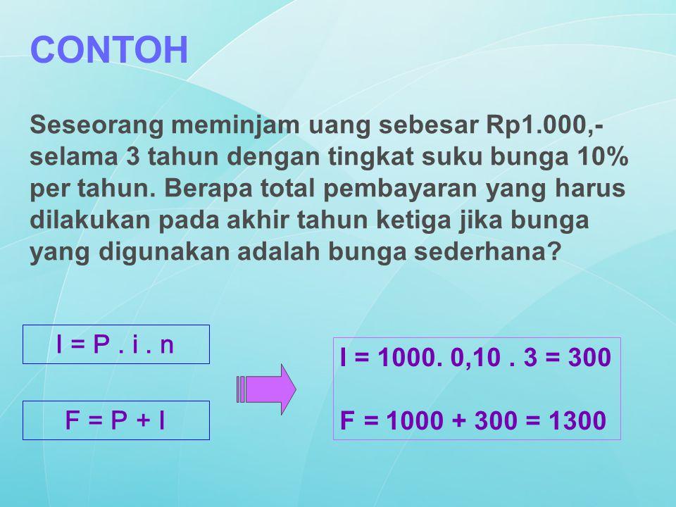Seseorang meminjam uang sebesar Rp1.000,- selama 3 tahun dengan tingkat suku bunga 10% per tahun. Berapa total pembayaran yang harus dilakukan pada ak
