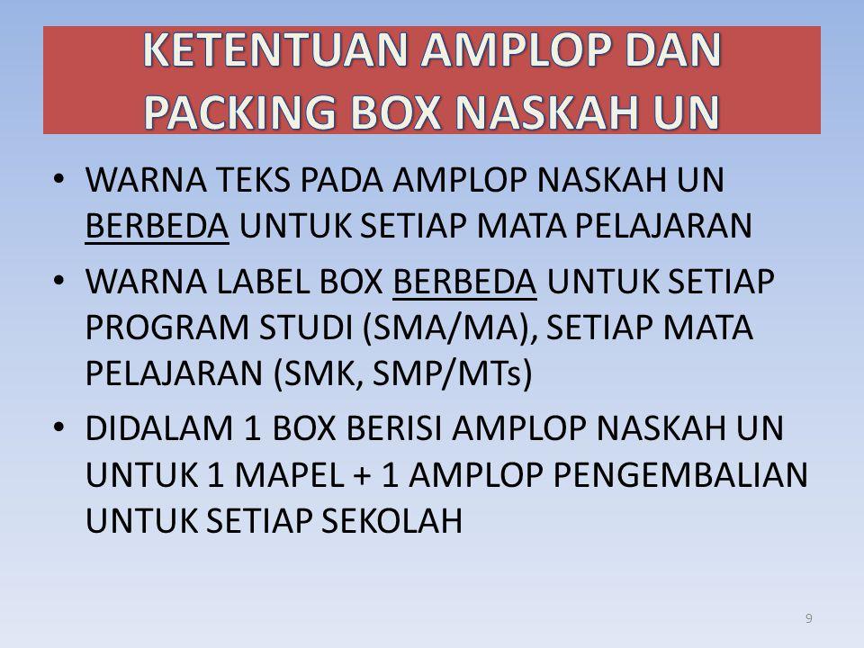 • WARNA TEKS PADA AMPLOP NASKAH UN BERBEDA UNTUK SETIAP MATA PELAJARAN • WARNA LABEL BOX BERBEDA UNTUK SETIAP PROGRAM STUDI (SMA/MA), SETIAP MATA PELAJARAN (SMK, SMP/MTs) • DIDALAM 1 BOX BERISI AMPLOP NASKAH UN UNTUK 1 MAPEL + 1 AMPLOP PENGEMBALIAN UNTUK SETIAP SEKOLAH 9