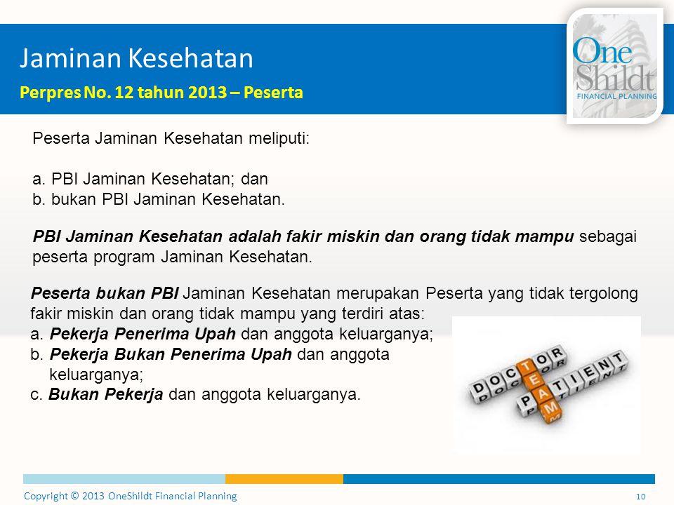 Copyright © 2013 OneShildt Financial Planning 10 Jaminan Kesehatan Perpres No.