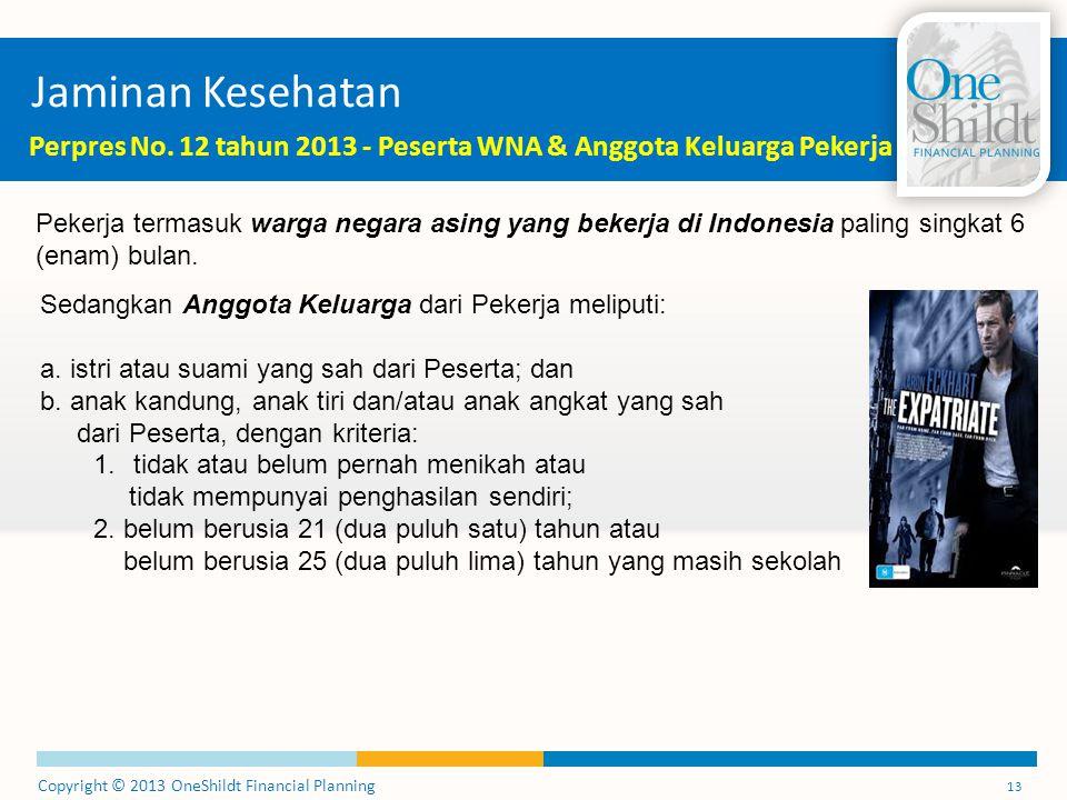Copyright © 2013 OneShildt Financial Planning 13 Jaminan Kesehatan Perpres No.