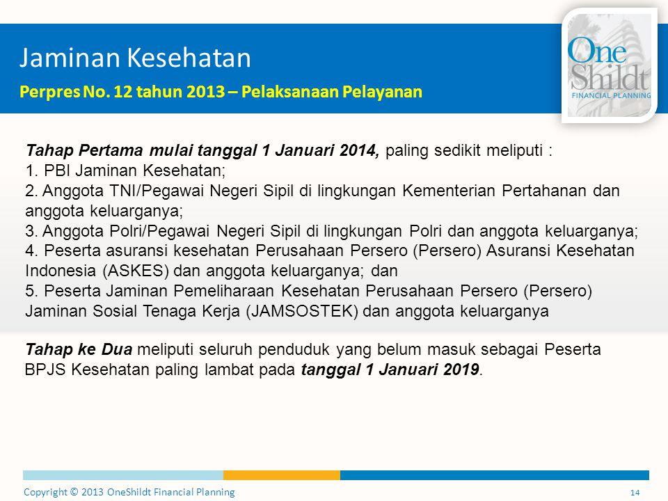 Copyright © 2013 OneShildt Financial Planning 14 Jaminan Kesehatan Perpres No. 12 tahun 2013 – Pelaksanaan Pelayanan Tahap Pertama mulai tanggal 1 Jan
