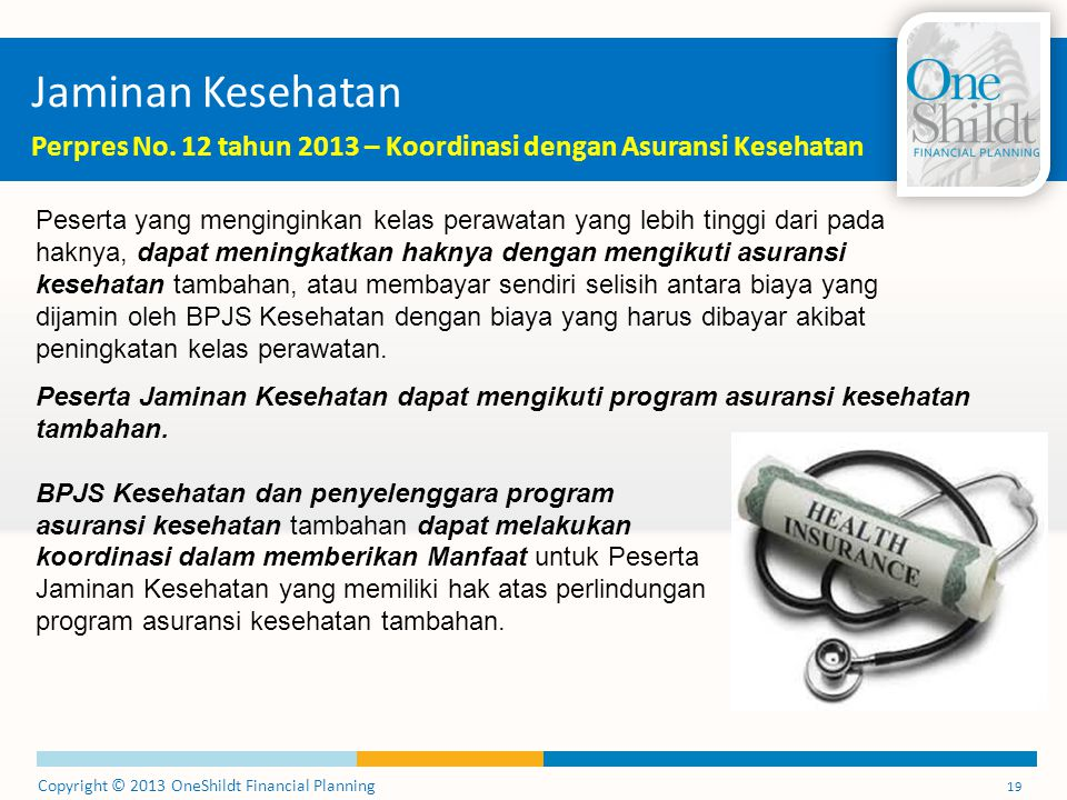 Copyright © 2013 OneShildt Financial Planning 19 Jaminan Kesehatan Perpres No. 12 tahun 2013 – Koordinasi dengan Asuransi Kesehatan Peserta yang mengi