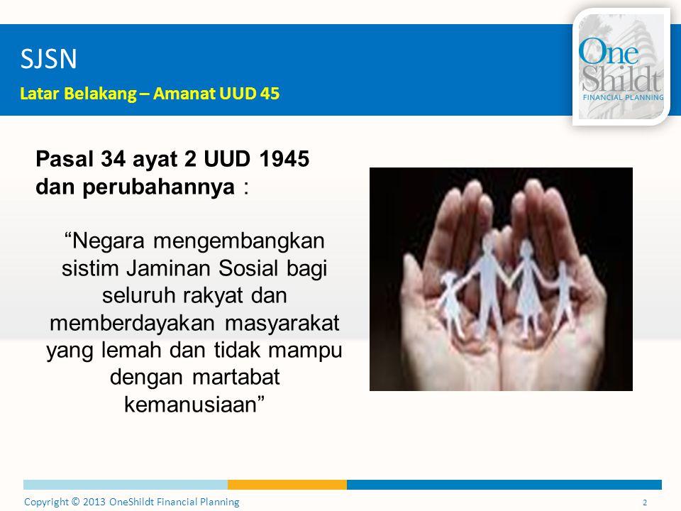 "Copyright © 2013 OneShildt Financial Planning 2 SJSN Latar Belakang – Amanat UUD 45 Pasal 34 ayat 2 UUD 1945 dan perubahannya : ""Negara mengembangkan"