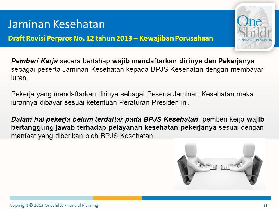 Copyright © 2013 OneShildt Financial Planning 23 Jaminan Kesehatan Draft Revisi Perpres No.