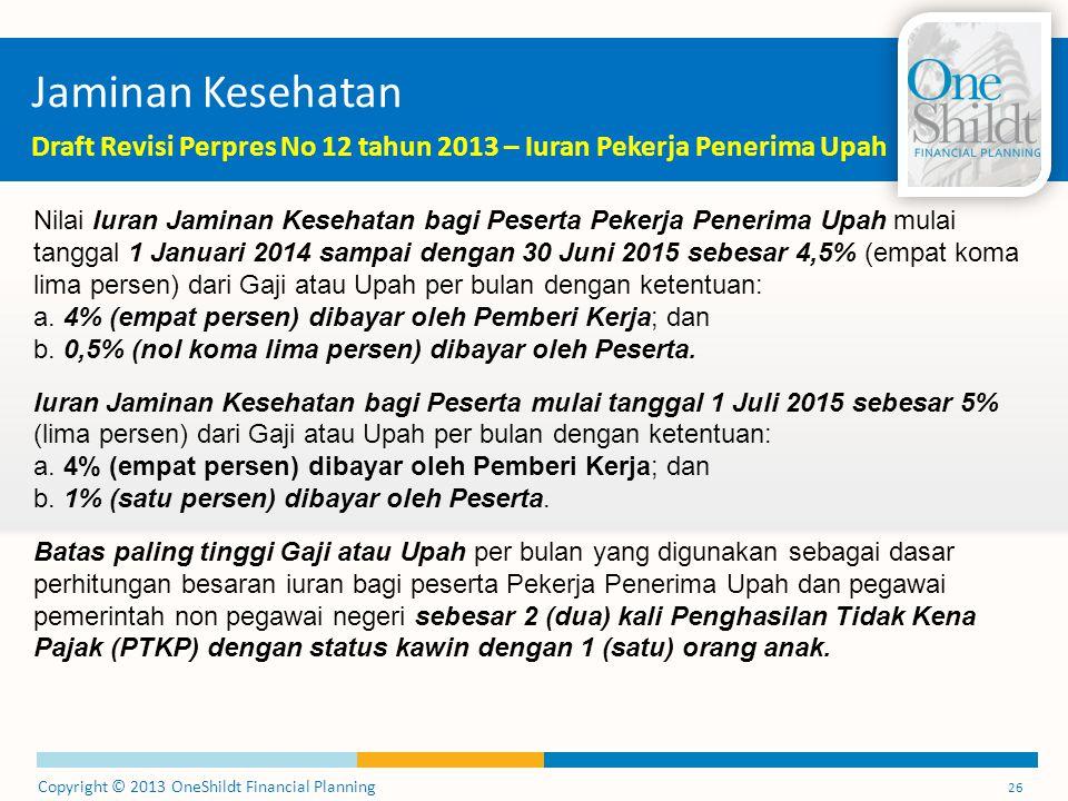 Copyright © 2013 OneShildt Financial Planning 26 Jaminan Kesehatan Draft Revisi Perpres No 12 tahun 2013 – Iuran Pekerja Penerima Upah Nilai Iuran Jam