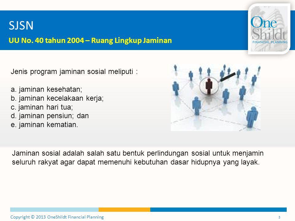 Copyright © 2013 OneShildt Financial Planning 3 SJSN UU No. 40 tahun 2004 – Ruang Lingkup Jaminan Jenis program jaminan sosial meliputi : a. jaminan k