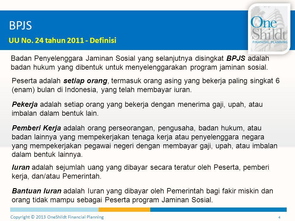 Copyright © 2013 OneShildt Financial Planning 25 Jaminan Kesehatan Draft Revisi Perpres No.