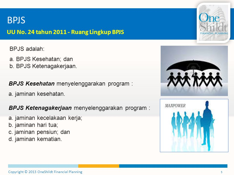 Copyright © 2013 OneShildt Financial Planning 5 BPJS UU No. 24 tahun 2011 - Ruang Lingkup BPJS BPJS adalah: a. BPJS Kesehatan; dan b. BPJS Ketenagaker