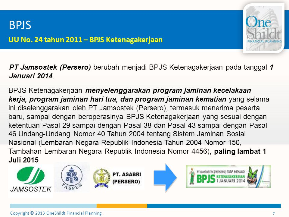 Copyright © 2013 OneShildt Financial Planning 7 BPJS UU No. 24 tahun 2011 – BPJS Ketenagakerjaan PT Jamsostek (Persero) berubah menjadi BPJS Ketenagak