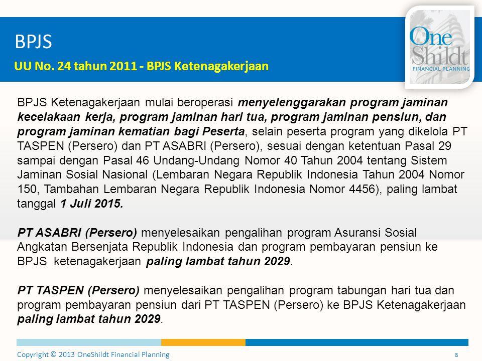 Copyright © 2013 OneShildt Financial Planning 8 BPJS UU No. 24 tahun 2011 - BPJS Ketenagakerjaan BPJS Ketenagakerjaan mulai beroperasi menyelenggaraka