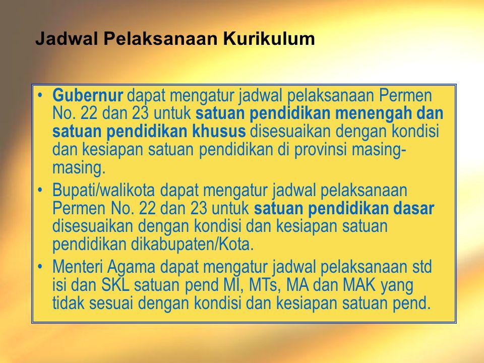 Departemen Pendidikan Nasional - Materi 8 - Permendiknas 24 PLB, 2006 • Gubernur dapat mengatur jadwal pelaksanaan Permen No.