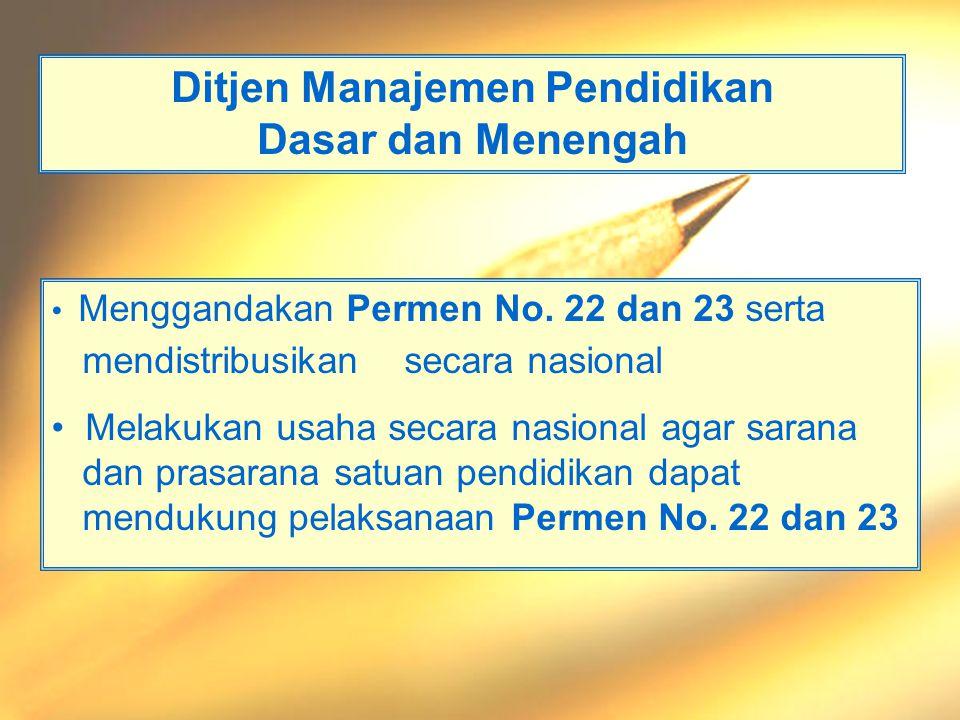 Departemen Pendidikan Nasional - Materi 8 - Permendiknas 24 PLB, 2006 Ditjen Peningkatan Mutu Pendidik dan Tenaga Kependidikan •Sosialisasi Permen No.