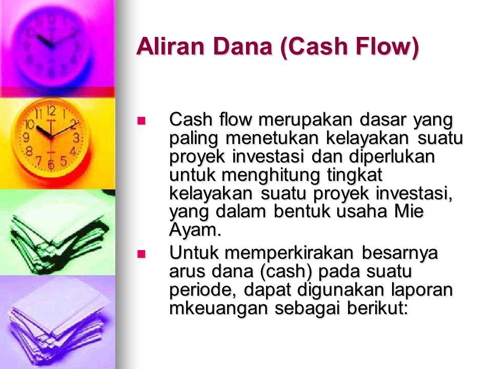 Aliran Dana (Cash Flow)  Cash flow merupakan dasar yang paling menetukan kelayakan suatu proyek investasi dan diperlukan untuk menghitung tingkat kelayakan suatu proyek investasi, yang dalam bentuk usaha Mie Ayam.