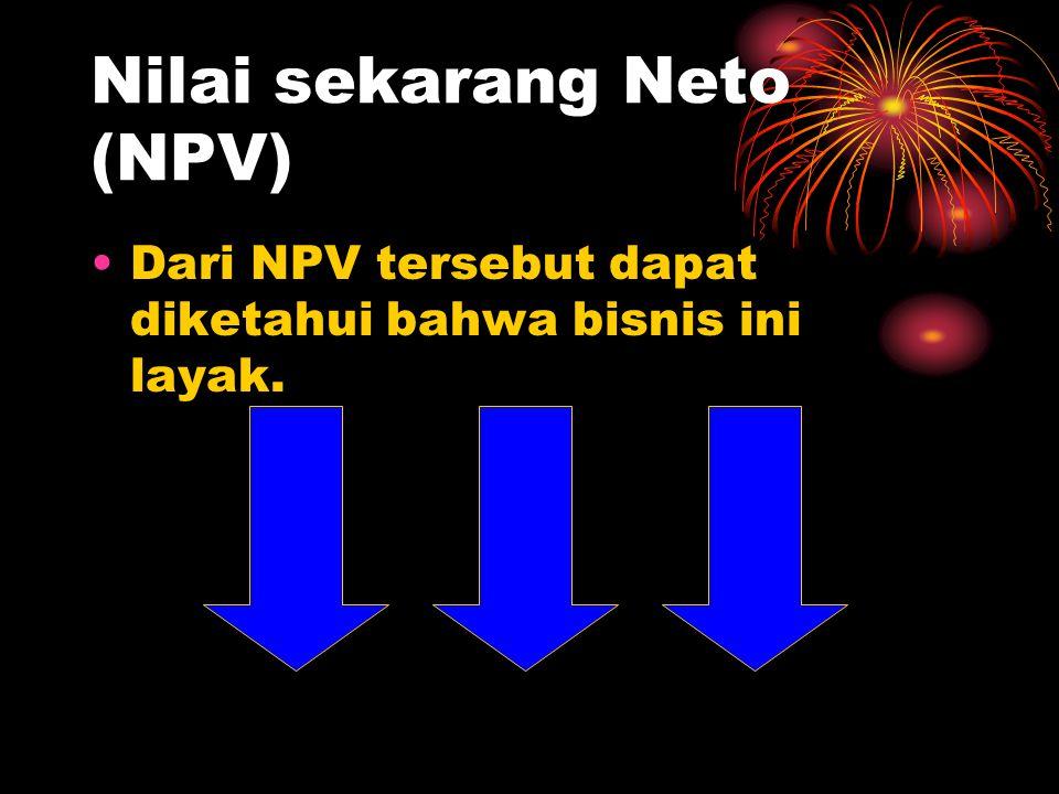 Nilai sekarang Neto (NPV) •Dari NPV tersebut dapat diketahui bahwa bisnis ini layak.