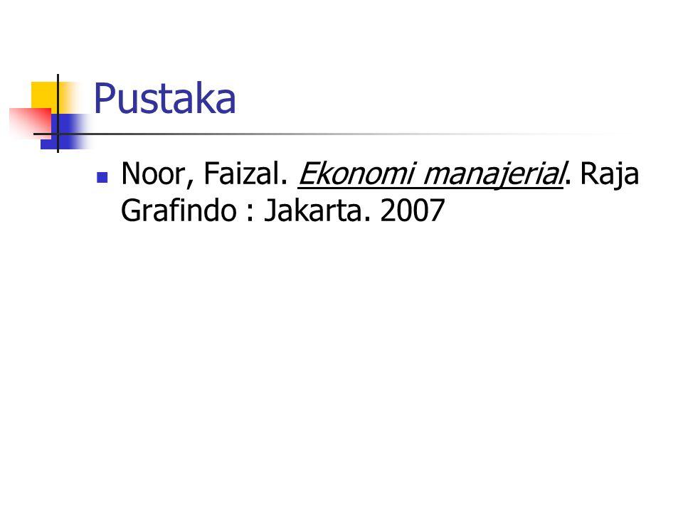 Pustaka  Noor, Faizal. Ekonomi manajerial. Raja Grafindo : Jakarta. 2007