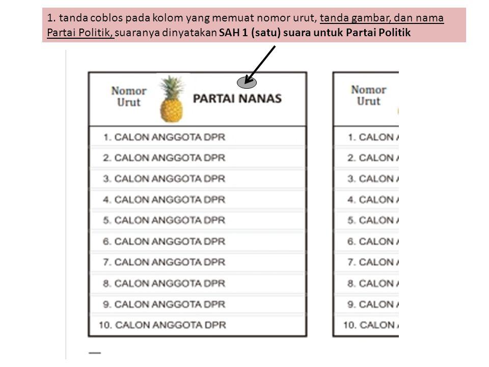 1. tanda coblos pada kolom yang memuat nomor urut, tanda gambar, dan nama Partai Politik, suaranya dinyatakan SAH 1 (satu) suara untuk Partai Politik