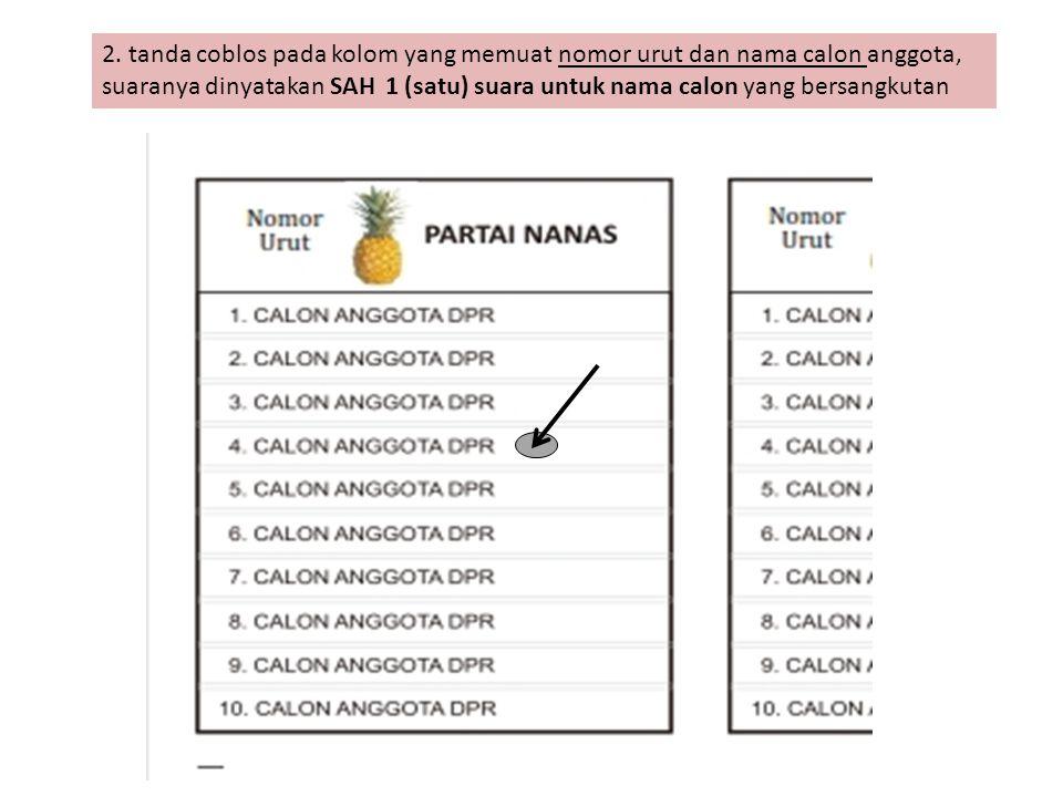 2. tanda coblos pada kolom yang memuat nomor urut dan nama calon anggota, suaranya dinyatakan SAH 1 (satu) suara untuk nama calon yang bersangkutan