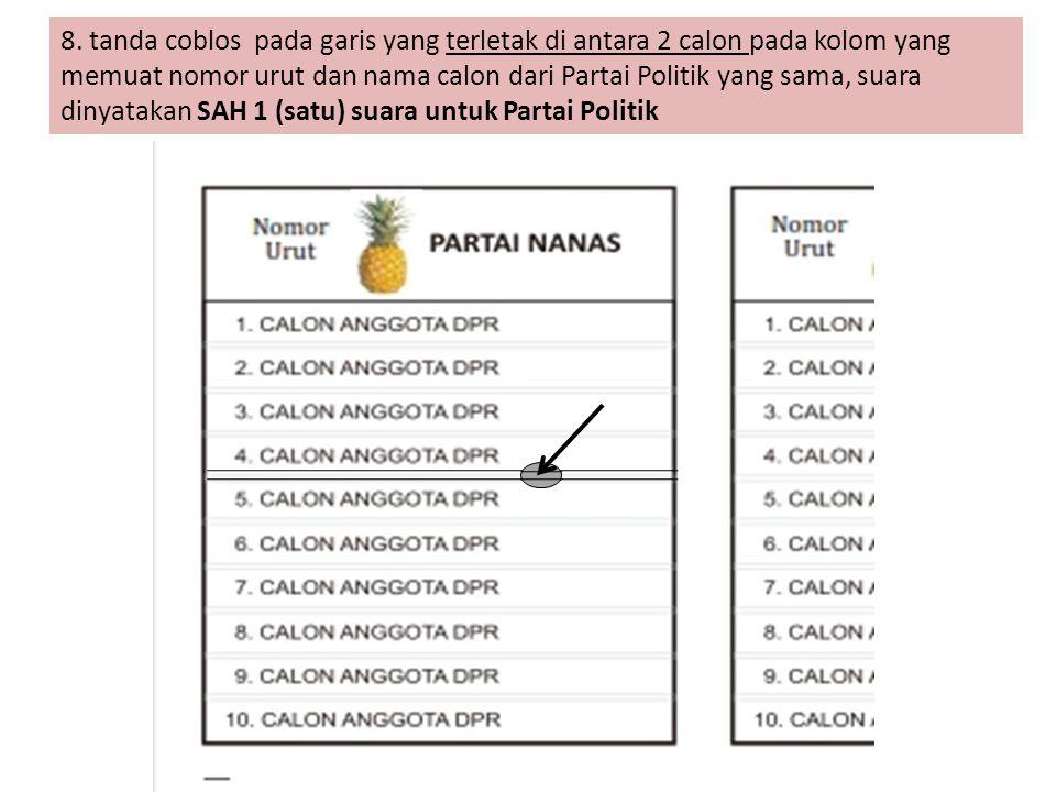 8. tanda coblos pada garis yang terletak di antara 2 calon pada kolom yang memuat nomor urut dan nama calon dari Partai Politik yang sama, suara dinya