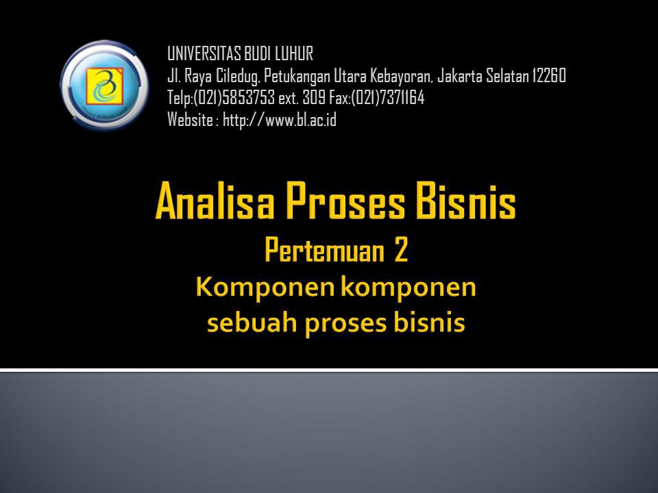 UNIVERSITAS BUDI LUHUR Jl. Raya Ciledug, Petukangan Utara Kebayoran, Jakarta Selatan 12260 Telp:(021)5853753 ext. 309 Fax:(021)7371164 Website : http: