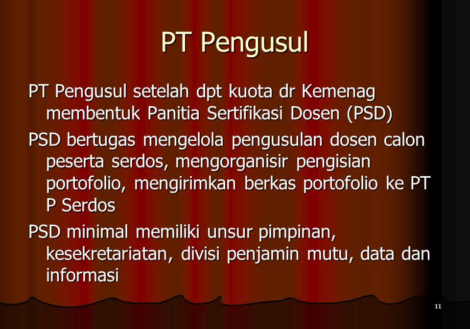 11 PT Pengusul PT Pengusul setelah dpt kuota dr Kemenag membentuk Panitia Sertifikasi Dosen (PSD) PSD bertugas mengelola pengusulan dosen calon pesert