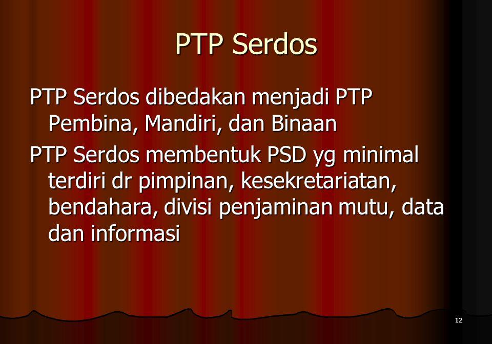 12 PTP Serdos PTP Serdos dibedakan menjadi PTP Pembina, Mandiri, dan Binaan PTP Serdos membentuk PSD yg minimal terdiri dr pimpinan, kesekretariatan,