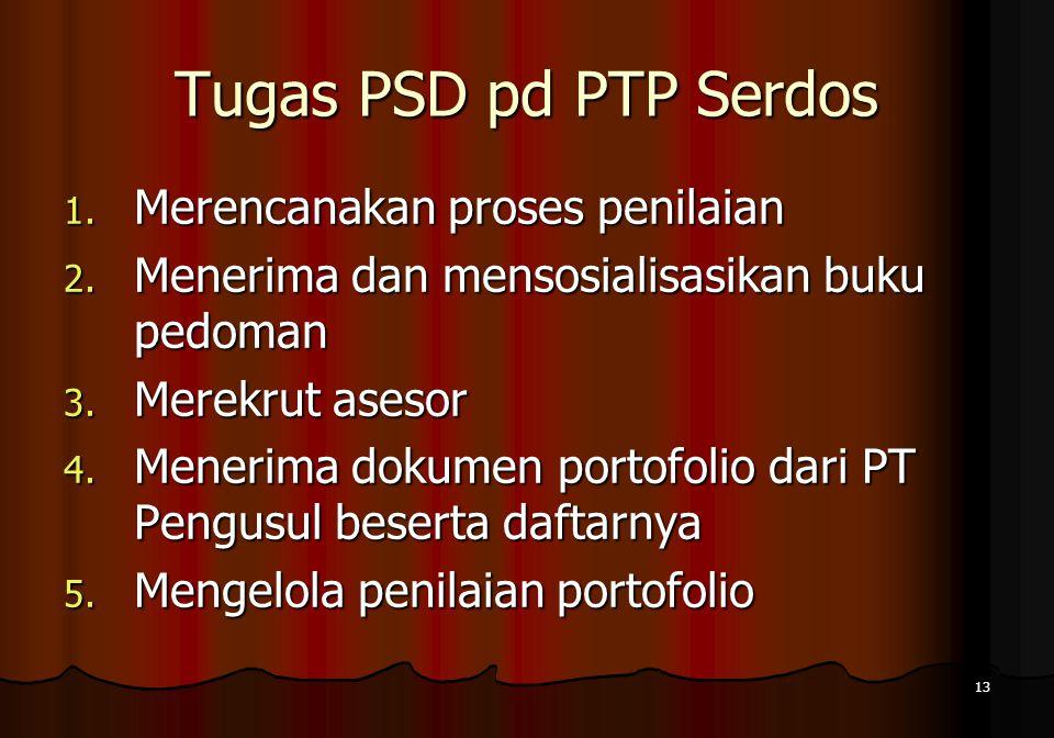 13 Tugas PSD pd PTP Serdos 1. Merencanakan proses penilaian 2. Menerima dan mensosialisasikan buku pedoman 3. Merekrut asesor 4. Menerima dokumen port