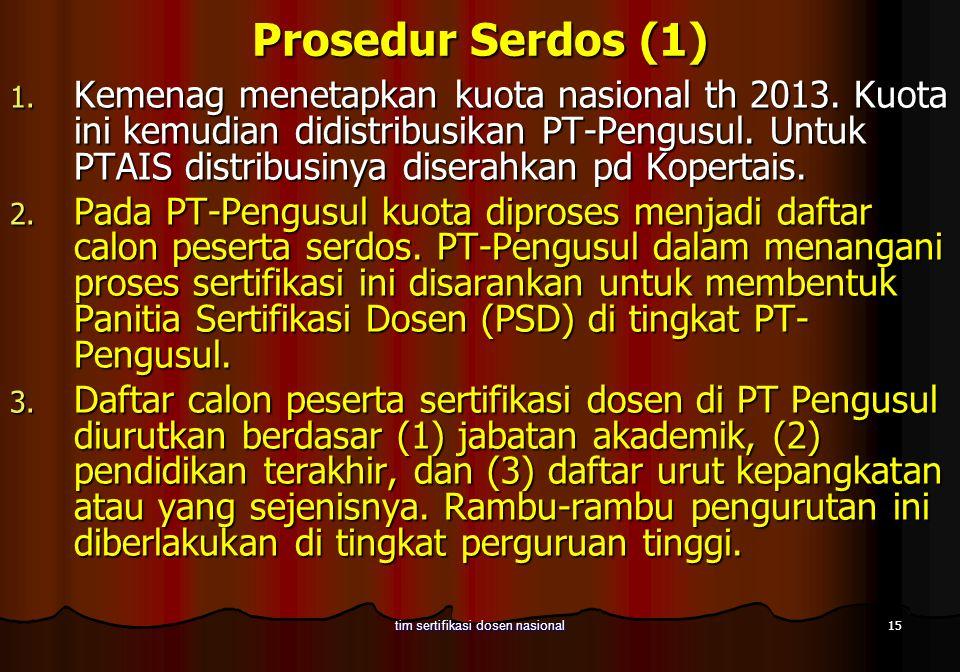 15 tim sertifikasi dosen nasional Prosedur Serdos (1) 1. Kemenag menetapkan kuota nasional th 2013. Kuota ini kemudian didistribusikan PT-Pengusul. Un