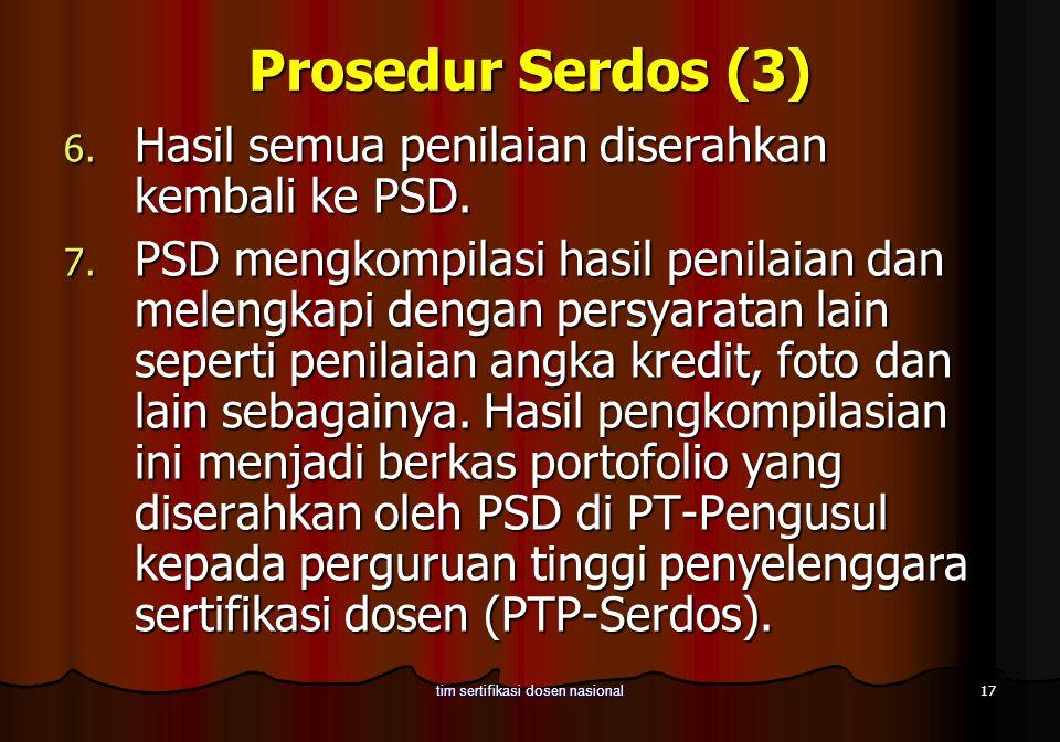 17 tim sertifikasi dosen nasional Prosedur Serdos (3) 6. Hasil semua penilaian diserahkan kembali ke PSD. 7. PSD mengkompilasi hasil penilaian dan mel