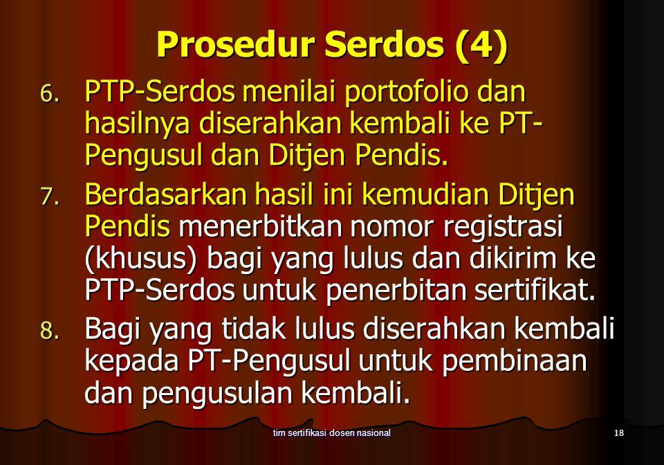18 tim sertifikasi dosen nasional Prosedur Serdos (4) 6. PTP-Serdos menilai portofolio dan hasilnya diserahkan kembali ke PT- Pengusul dan Ditjen Pend