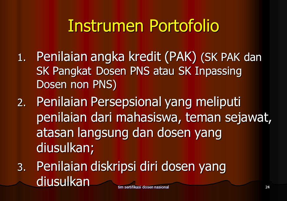 24 tim sertifikasi dosen nasional Instrumen Portofolio 1. Penilaian angka kredit (PAK) (SK PAK dan SK Pangkat Dosen PNS atau SK Inpassing Dosen non PN