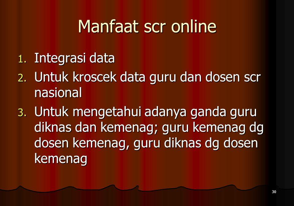 Manfaat scr online 1. Integrasi data 2. Untuk kroscek data guru dan dosen scr nasional 3. Untuk mengetahui adanya ganda guru diknas dan kemenag; guru