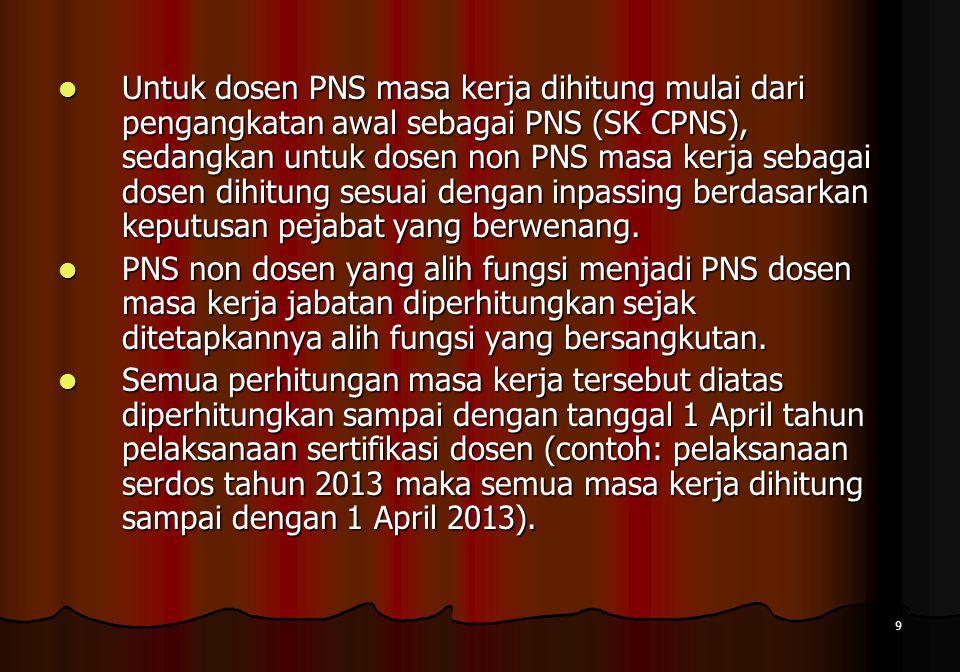 9  Untuk dosen PNS masa kerja dihitung mulai dari pengangkatan awal sebagai PNS (SK CPNS), sedangkan untuk dosen non PNS masa kerja sebagai dosen dih