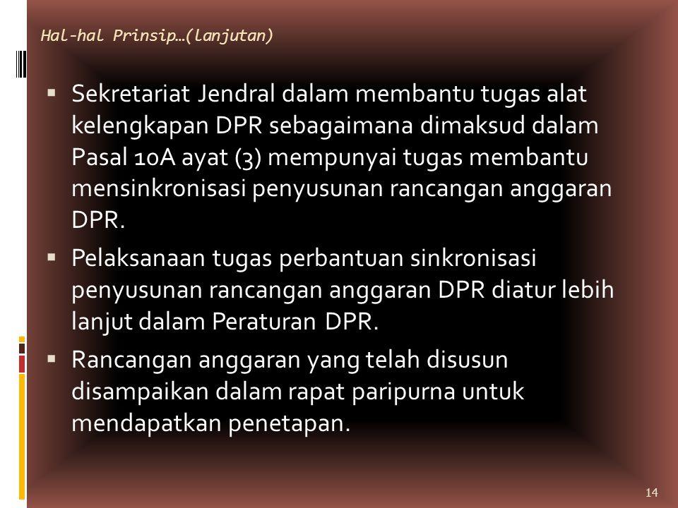 Hal-hal Prinsip…(lanjutan)  Sekretariat Jendral dalam membantu tugas alat kelengkapan DPR sebagaimana dimaksud dalam Pasal 10A ayat (3) mempunyai tug