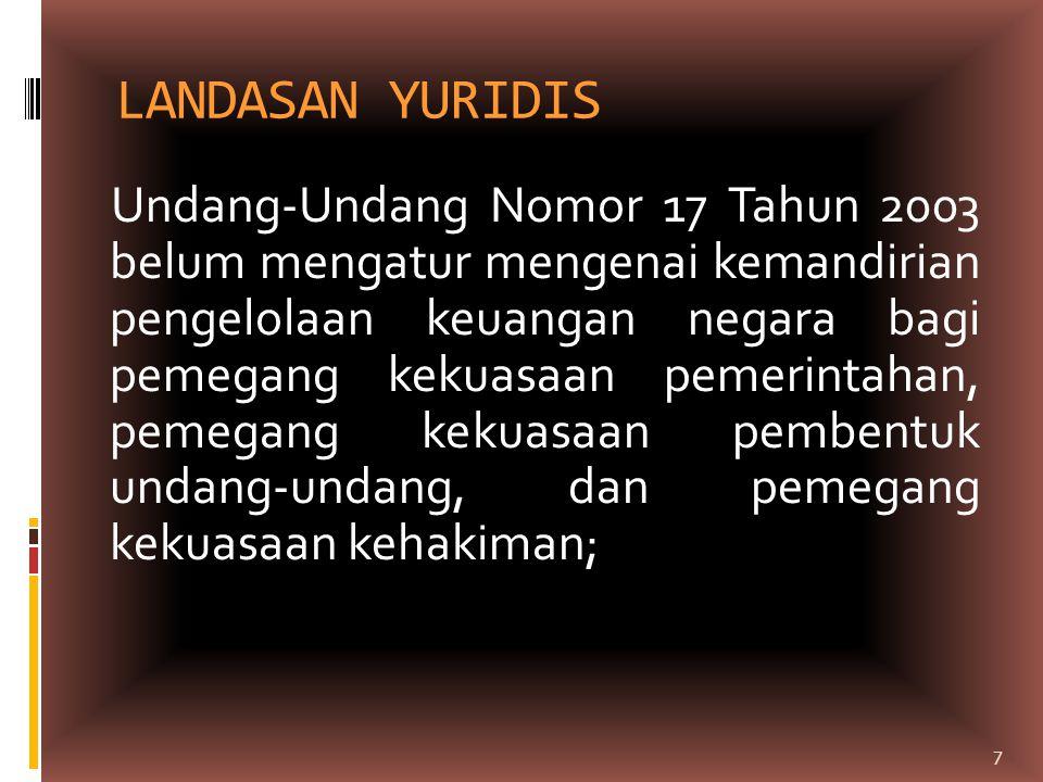 LANDASAN YURIDIS Undang-Undang Nomor 17 Tahun 2003 belum mengatur mengenai kemandirian pengelolaan keuangan negara bagi pemegang kekuasaan pemerintaha