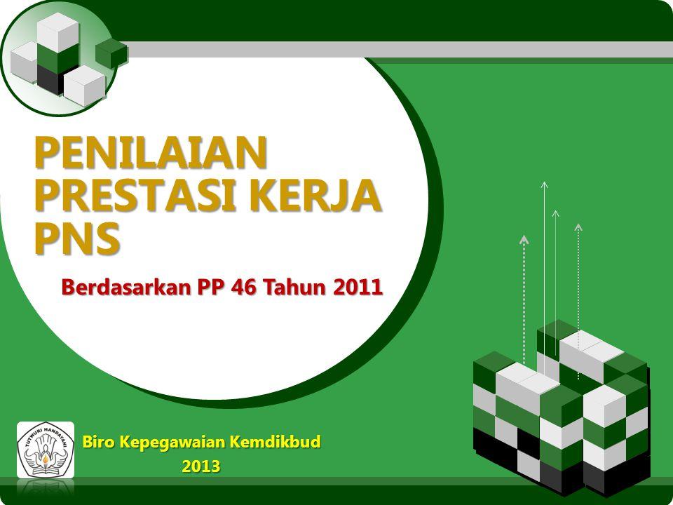 LOGO PENILAIAN PRESTASI KERJA PNS Berdasarkan PP 46 Tahun 2011 Biro Kepegawaian Kemdikbud 2013