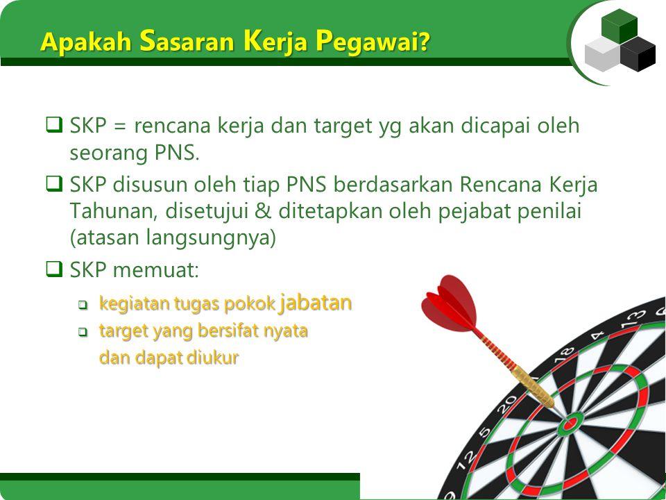 Apakah S asaran K erja P egawai?  SKP = rencana kerja dan target yg akan dicapai oleh seorang PNS.  SKP disusun oleh tiap PNS berdasarkan Rencana Ke
