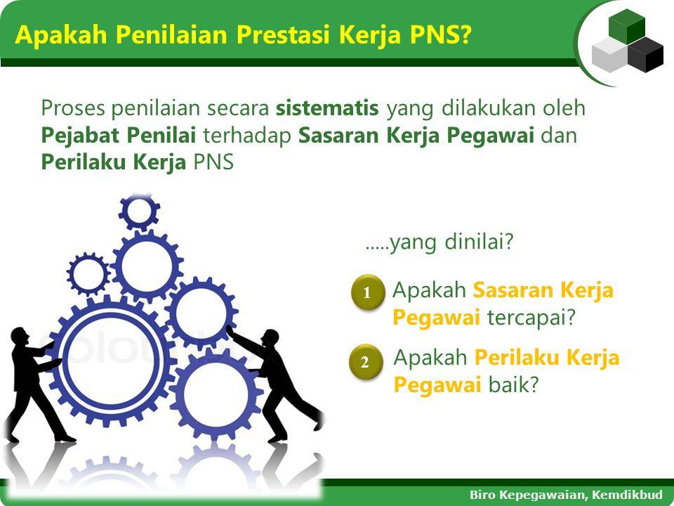 Apakah Penilaian Prestasi Kerja PNS? Proses penilaian secara sistematis yang dilakukan oleh Pejabat Penilai terhadap Sasaran Kerja Pegawai dan Perilak