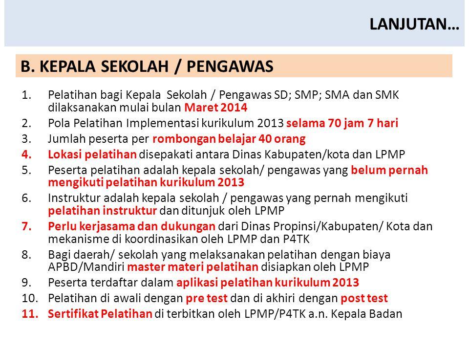 LANJUTAN… 1.Pelatihan bagi Kepala Sekolah / Pengawas SD; SMP; SMA dan SMK dilaksanakan mulai bulan Maret 2014 2.Pola Pelatihan Implementasi kurikulum