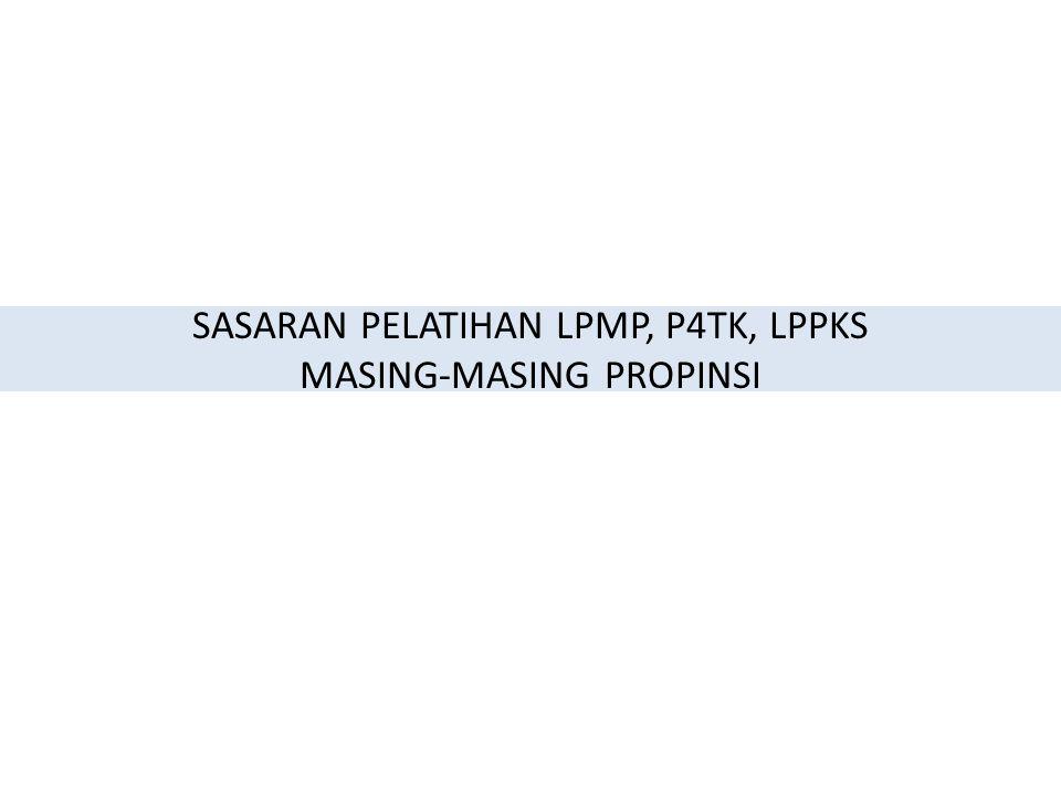 SASARAN PELATIHAN LPMP, P4TK, LPPKS MASING-MASING PROPINSI