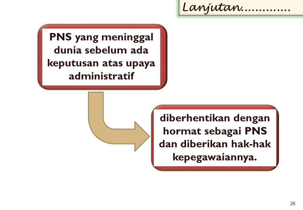 PNS yang meninggal dunia sebelum ada keputusan atas upaya administratif 26 Lanjutan..............