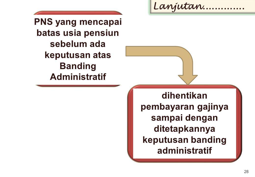 PNS yang mencapai batas usia pensiun sebelum ada keputusan atas Banding Administratif 28 Lanjutan..............