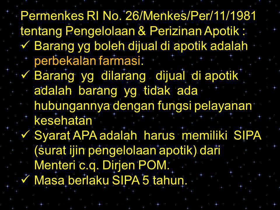 Kepmenkes RI No.278/Menkes/SK/V/1981 tentang Persyaratan Apotik, a.l.
